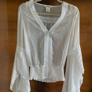 White Arden B bell sleeves blouse
